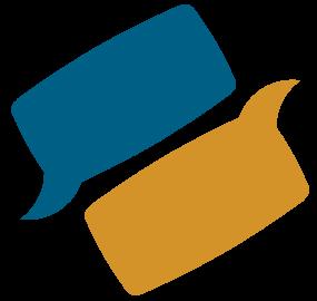 Logotipo del ICECU, se muestran dos burbujas de diálogo