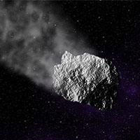 Ilustración de un meteoro en el espacio.