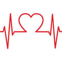 Ilustración de corazón unido a las líneas que representan el ritmo cardíaco.