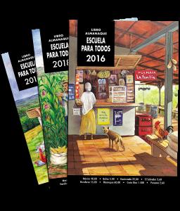 Fotografía de la portada de tres Almanaques Escuela Para Todos