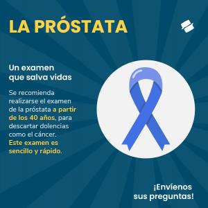 Ilustración con el lazo azul que representa la lucha contra el cáncer de próstata.